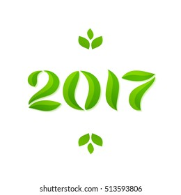 Happy new year 2017 eco leaves greeting card design