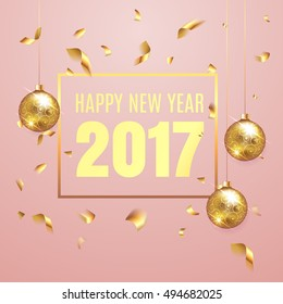 Happy New Year 2017 elegant pink background template with gold christmas balls and  confetti with a sparkle,  text and shining lights. Rich, VIP, luxury Gold and black colors. Vector illustration. EPS