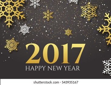 Happy new year 2017. End 2016 year celebration. Gold greeting decoration. Festive vector design for holiday.