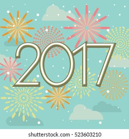Happy New Year 2017 fireworks in sky vector