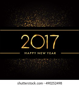 Happy New Year 2017 with glitter isolated on black background, text design gold colored, vector elements for calendar and greeting card.