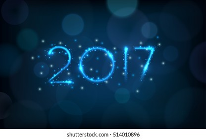 happy new year 2017 in glitter light ray with bokeh on dark blue color background (vector)
