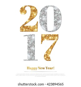 Happy New Year 2017 Greeting Card with Gold and Silver Numbers. Vector Illustration. Merry Christmas Flyer, Brochure Cover, Poster. Minimalistic Invitation Design.