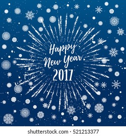 Happy New Year 2017 greeting card. Vector winter holidays backgrounds with starburst, hand lettering calligraphic, snowflakes, falling snow