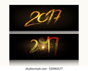Happy New Year 2017 Holiday Vector Illustration greeting card with creative Lettering Composition And golden Brush strokes , Golden Textured and shiny text on dark background for header design
