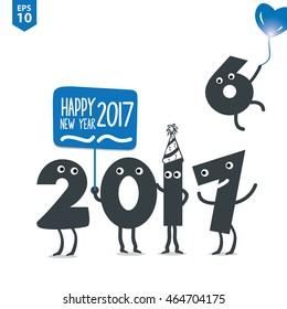 Happy New Year 2017 Illustration