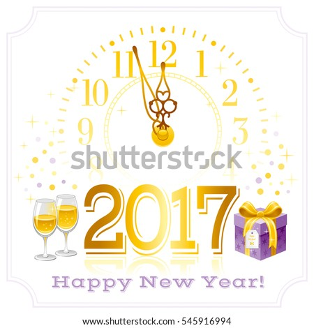 happy new year 2017 poster border frame template design banner vector illustration sparkling