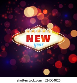 Happy new year 2017 retro frame in bokeh and lens flare pattern. Vector illustration