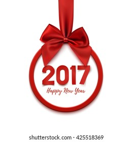 Happy New Year 2017 round banner with red ribbon and bow, on white background. Christmas tree decoration. Greeting card template. Vector illustration.