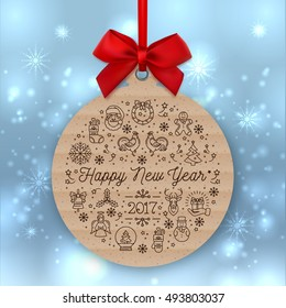 Happy New Year 2017 round banner with red ribbon and bow, isolated on winter background. Christmas gift tag of kraft paper, Greeting card template made of cardboard, Vector Holiday round label