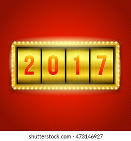 Happy New Year 2017 slots background. Gold slot machine illustration with 2017 numbers. Eps10 vector.