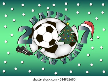 happy new year 2017 and soccer ball with Christmas tree, hat and football boot. Vector illustration