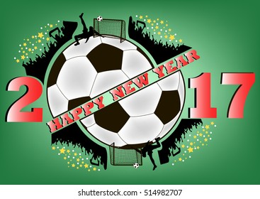 happy new year 2017 and soccer ball with football fans. Vector illustration