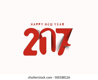 Happy new year 2017 text design vector background
