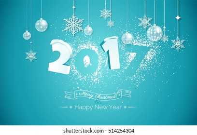 Happy new year 2017 Text Design.2017 snow number illustration. Happy holidays banner with snowflakes and christmas decorations on blue sparkling background. Greeting card. Vector illustration.