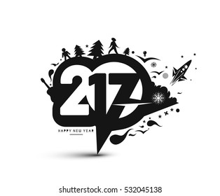 Happy new year 2017 Text Design for Flyers and Greetings Card. Vector illustration