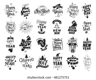 Happy New Year 2017 typographic emblems set. Vector logo design. Black and white. Usable for banners, greeting cards, gifts etc.