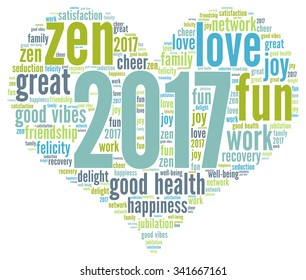Happy New Year 2017 vector with a heart shape and words cloud and tag.