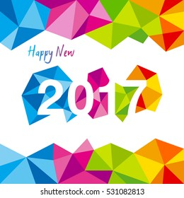 Happy New Year 2017 vector. Vector illustration of 2017 made of colorful polygonal shapes.
