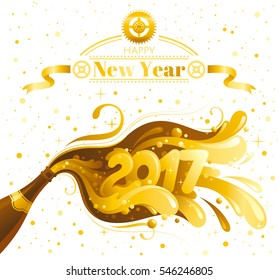 happy new year 2017 vector banner sparkling champagne wine bottle with bubbles alcohol drink