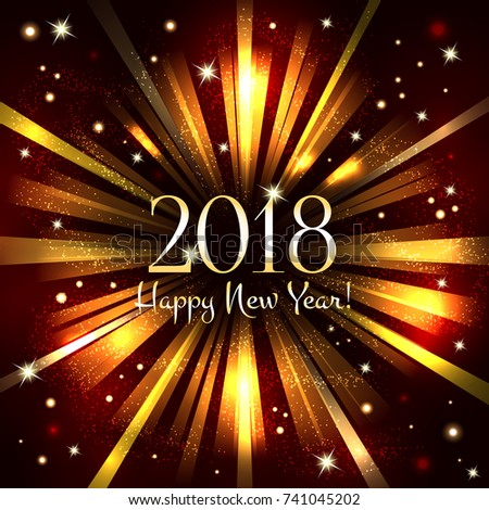happy new year 2018 abstract background with flash and shining stars creative design
