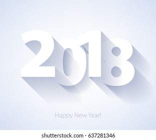 Happy New Year 2018 background. Calendar design typography vector illustration. Paper white design with shadows.
