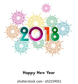 Happy New Year 2018, background or element of a holidays card. Colorful fireworks