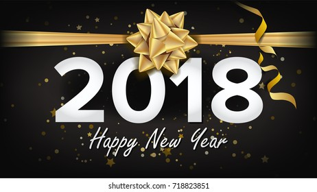 happy new year 2018 background vector beautiful luxury holiday christmas greeting card xmas advertising
