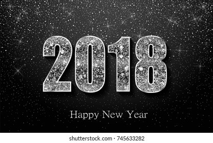 happy new year 2018 background with silver sparkling texture glitter numbers 0 1