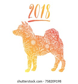 Happy new year 2018 background decoration. 2018 zodiac dog. Calendar 2018 template. Abstract template with golden dog for decoration design.