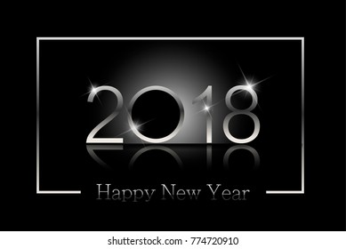 Happy new year 2018 background in silver frame
