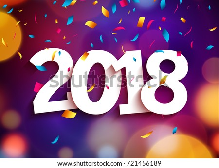 Happy New Year 2018 Background Decoration Stock Vector (Royalty Free ...
