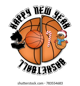 Happy new year 2018 and basketball with Christmas candy, dog and snowman. Vector illustration