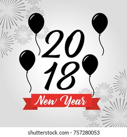 happy new year 2018 black balloons decoration fireworks
