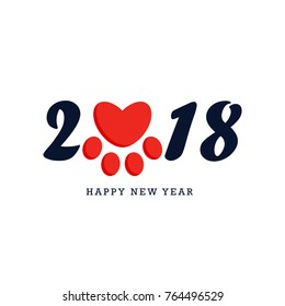 Happy New Year 2018 black text design with red dog paw in heart form, vector illustration on white background.