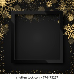 Happy New Year 2018 black background with black frame and gold snow. Vector.