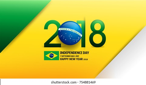 Happy New Year 2018 in Brazlian Flag Color Concept. Brazil Independence Day Background. Abstract Vector Illustration eps.10