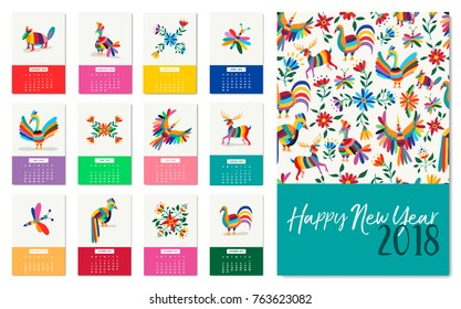 Happy New Year 2018 calendar template with colorful mexican art of animals and flowers. Traditional mexico nature decoration for monthly planner designs. EPS10 vector.