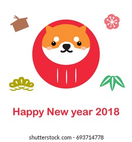 Happy New Year 2018 card. Red Shiba dog good luck doll with Japanese element icons such as bamboo, tree, cherry blossom and wood banner.
