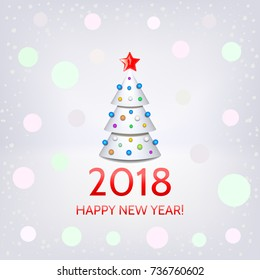 Happy New Year 2018 card with elegant white Christmas tree and Happy New Year 2018! inscription. Vector illustration
