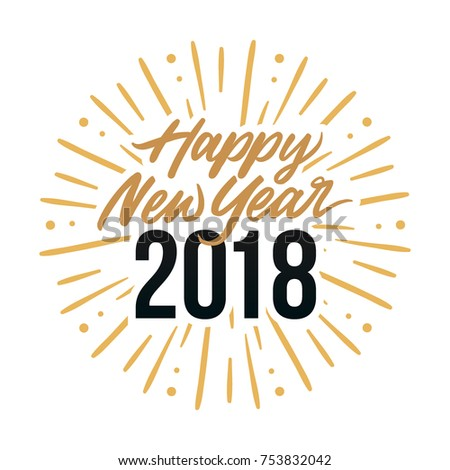happy new year 2018 card template design with royal golden text and fireworks effect background element