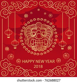 Happy new year 2018. Chinese poster with the symbol of the dog's head in the circle, Chinese lanterns, clouds, flowers and pagoda on a red background. Vector illustration.