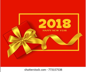 Happy New Year 2018. Chinese New Year background with traditional red gift box and yellow golden bow, long decorative ribbon  and 2018 greeting text