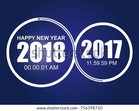 happy new year 2018 and circle and blue color