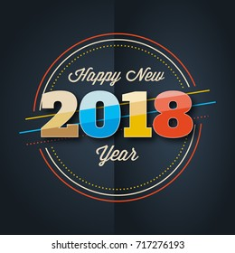 Happy New Year 2018 colorful greeting card design template