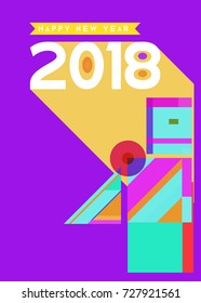 Happy New Year 2018 colorful abstract design, vector elements for calendar and greeting card.