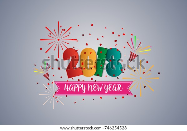 Happy new year 2018 colorful greetings card and celebration, paper art style, vector illustration.