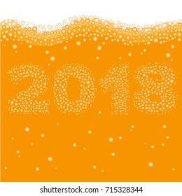 Happy New Year 2018 concept. Number created of bubbles inside orange liquid - juice, beer or champaign. Celebration logo or xmas poster template.