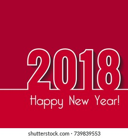 Happy New Year 2018. Creative greeting card template. Over red background
