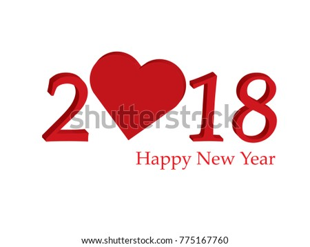 Happy New Year 2018 Creative Love Stock Vector (Royalty Free ...